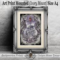 Skull Wall Art Print Picture Gothic Unframed Gift Home Decor Kissing Skeletons