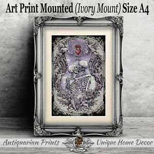 Skull Wall Art Print Picture Gothic Unframed Gift Home Decor Kissing Skeletons