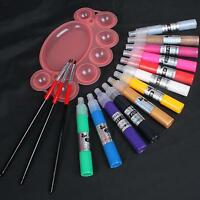 12 Color 3D Drawing Paint Painting Pen Acrylic Nail Art Tips & Pallet 3Pcs Brush
