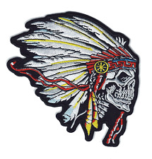 "🏍️4"" INDIAN CHIEF Headdress/Skull MOTORCYCLE BIKER Logo Iron-on Patch!"