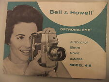 Instructions Cine Film Caméra Bell & Howell OPTRONIC EYE modèle 8 mm 418 CD/E-mail