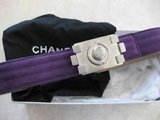 Chanel AUTH. Nickel Tone CC Lego Brick Buckle Plum Suede Leather Belt 26 / 65
