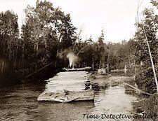 Lumber Barge on the River, Cheboygan-Petoskey, Michigan - Historic Photo Print