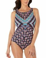 NEW!!! Swim Solutions Women's Pattern Play High Neck 1-PC Swimsuit Sz: 8 & 10