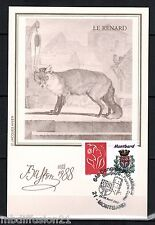 1988/TIMBRE/FRANCE**FDC CP 1°JOUR!!**ANIMAUX-LE RENARD-BUFFON**STAMP.MONTBARD