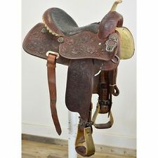 "Used 14"" Teskey's Full Tooled Barrel Racing Saddle Code: U14TESKEYBRFTFL"