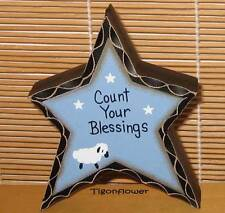 Country Decor Wood Sign Freestanding Block Star COUNT YOUR BLESSING free gift