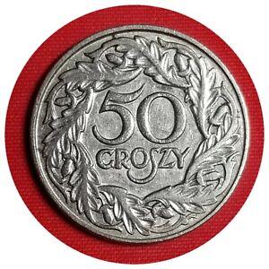 💰 Poland Polski 1923 Bronze 50 Groszy Grosh Gross Groszy #05
