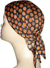 Lightly padded head scarf ideal for chemo hair loss patients.Polyester black/bro