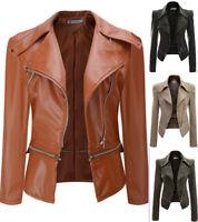 Womens Plus Size Leather Jacket Zipper Biker Ladies Casual Fashion Slim Fit Coat