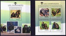 GUINEE 2014 LES CHIMPANZES PRIMATES CHIMPS WILD ANIMALS FAUNA STAMPS MONKEYS MNH