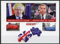 Chad 2018 CTO Brexit Nigel Farage Boris Johnson 2v M/S Buses Politicians Stamps