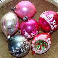 Vintage 6 Jumbo Poland Shiny Brite USA Christmas Tree Ornaments Mercury Glass
