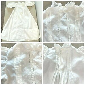 Antique Christening Gown Baptism Pintuck Whitework Embroidery White Cotton KC