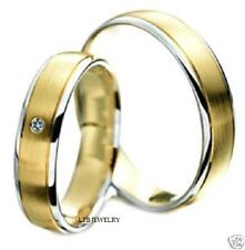 10K TWO TONE GOLD MATCHING WEDDING BANDS, HIS & HERS WEDDING RINGS SET