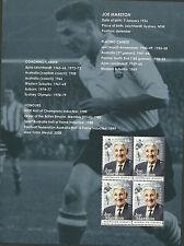 AUSTRALIA 2012 JOE MARSTON FOOTBALL LEGEND Souv.Sheet ex Prestige Booklet MNH