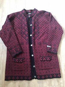 """Vintage Dale Of Norway 100% Wool Nordic Red Black Ladies Cardigan XXL 44"""" Chest"""