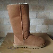 UGG Classic Tall Chestnut Suede Sheepskin Winter Boots Size US 6 Womens NEW