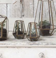 Medium Brass & Glass Diamond Terrarium Planter Candle Holder Lantern Nandi