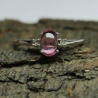 Natural Pink Tourmaline Oval Cabochon 925 Solid Silver Women Designer Ring