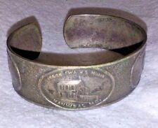 Vintage Mark Twain History Scene Panel Cuff Bracelet Silver Plated