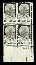 US 1974 Sc #1526 10 c Poet Frost Mint NH Plate Block of 4
