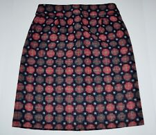 BODEN navy w/ gray and pink print wool skirt mini above knee women 4 long UK 8L