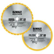 DEWALT 12 in. Miter Saw Blade 2-PACK Wood Chip Board Plywood 32 and 80 Teeth Set