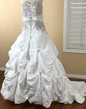 Mori Lee Wedding Dress 14 White Strapless Designer Princess Ball Gown Train