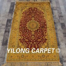 YILONG 3'x5' Golden Antique Carpets Classic Indoor Handmade Oriental Rugs G61C