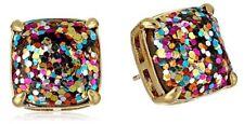 Kate Spade New York Multi Pink Gold Blue Glitter Brass Square Stud Earrings