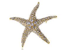 Sand Starfish Star Beach Pin Brooch Lady Gold Tone Silver Crystal Rhinestone Sea