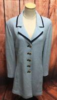 St John Collection Marie Gray Light Blue Gold Button Santana Knit Jacket Size 14