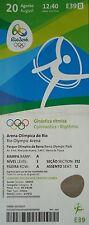 TICKET 20.8.2016 OLYMPIA RIO Gymnastics artistic # e39
