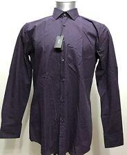 New Hugo Boss Paisley Collar Purple Botton Down Men Long Sleeve Size 41/16 Large