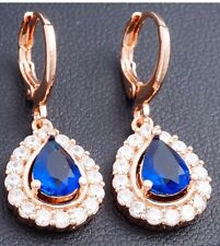 Stunning Blue Simulated Sapphire Diamonte Crystal Gold tone Dangle Earrings