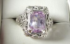 4.08 Ct. Emerald Cut Pink Kunzite Filigree Ring Sterling Silver Free Sizing