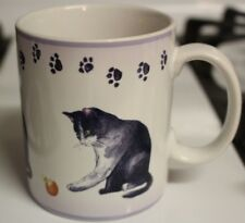 Casa Moda Paw Prints Mug Cat Kitten Muted Purple Clean EUC Cat Lover Collector