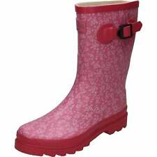Mid Calf Rubber Wellington Boots Wellies Floral Print Pink Festival Shoes
