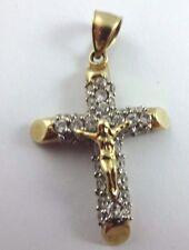 Beautiful 10k Yellow Gold Ornate Jesus Cross Crucifix Pendant w/ Clear Gemstones