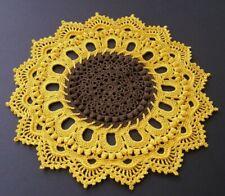 "Crochet Doily Yellow Brown Sunflower Textured 10 1/2"" new"