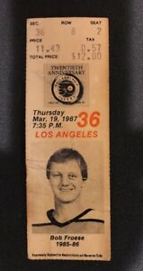 Mar 19 1987 PHILADELPHIA FLYERS vs Los Angeles Kings Ticket Stub Bob Froese