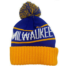 MILWAUKEE Two Tone Pom (Royal Blue/Yellow) Cuffed Bubble Knit Beanie Skull Cap