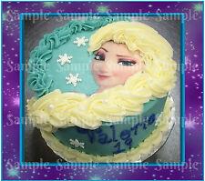 Disney Princess Frozen Elsa Braid Face Edible Icing Birthday Party Cake Topper