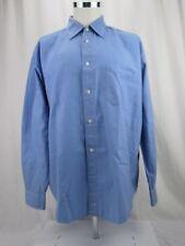 Men's Long Sleeve Dress Shirt Johnston & Murphy XL Blue Stripes 100% Cotton