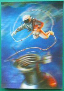 Vintage 3D Postcard man in space, postcard USSR