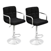 Set of 2 Pub Bar Stools Chair Flannel Adjustable Swivel Seat W/Armrest New