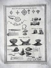 GRAVURE ANCIENNE 19e - BIJOUX D'OR QUI SE PORTENT COMME DES AMULETTES - AFRIQUE