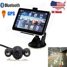 "5"" Car LCD Touch Screen Mirror GPS Navigation Bluetooth +Backup Camera Free MAP"