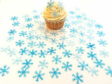 80 Edible Snow Queen Snowflake Pre Cut Wafer Cupcake Toppers Novelty